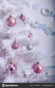 Light Pink And White Christmas Tree Christmas Tree With Pink And White Toys Stock Photo