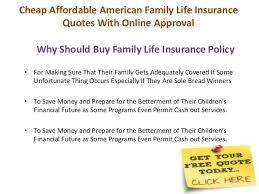Cheap Affordable American Family Life Insurance Quotes With Online Ap Custom Family Life Insurance Quotes