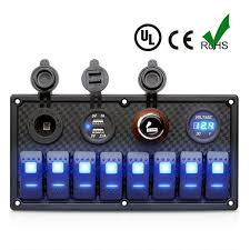 gang car marine boat v v led rocker switch panel charger 8 gang car marine boat 12v 24v led rocker switch panel charger cigarette lighter