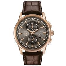 men s citizen eco drive world chronograph a t brown leather watch at8113 04h reeds jewelers