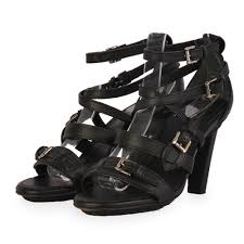 tod s leather strappy heels black