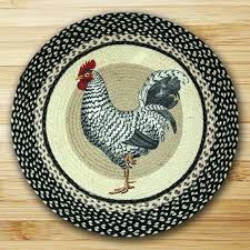 country rooster jute braided rustic cottage round throw