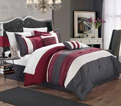 modern red and gray bedding
