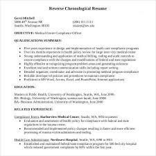 Reverse Chronological Order Resume Unique Reverse Chronological