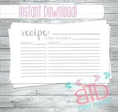 Printable Recipe Card Template Ethercard Co