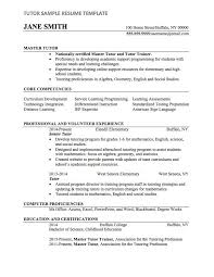 Tutoring Resume New Tutor Resume Sample Resume Template