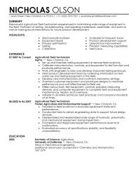 Agricultural Field Technician Resume Career Specific Resumes