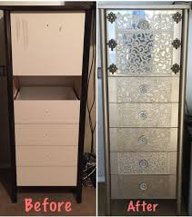 Transformed thrift store find into custom dresser using krylon looking  glass spray paint, metallic gold