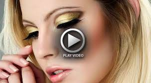 best gold eye makeup with black eyeliner and berry lip video tutorial