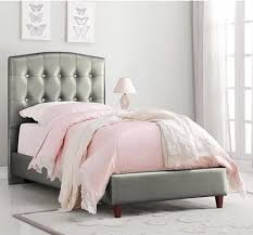 upholstered twin bed.  Upholstered Princess Upholstered Twin Bed  Silver And
