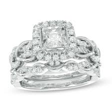 t w princess cut diamond frame vintage style bridal set in 10k white gold