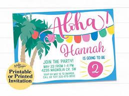 Hawaiian Pool Party Invitations Pool Party Invitation Aloha Invitation Luau Birthday Invitation