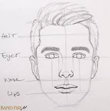 roughly between the eyes and nose draw the ears