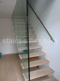Straight staircase / wooden steps / glass steps / glass frame - FLOATING  GLASS STAIRS