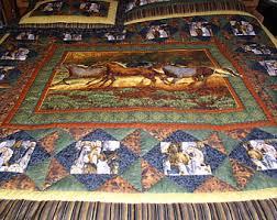 Horse quilt | Etsy & Western horse quilt, western bedding, cabin quilt Adamdwight.com