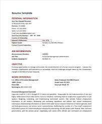 Personal Resume Template Federal Resume Template 10 Free Word Excel Pdf  Format Download Free