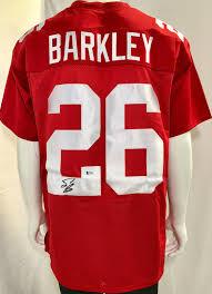 Bas Beckett Red Barkley Saquon Jersey Signed -