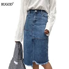 2019 <b>RUGOD Chic Patchwork</b> Denim Skirt Women 2018 Fashion ...