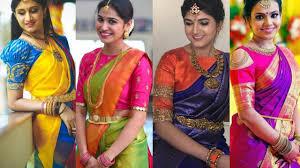 Makeover Saree Designs Latest Silk Saree Blouse Designs Pattu Saree Contrast Blouse Combination Ideas