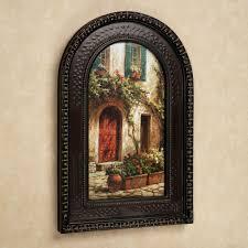 red door italian scene arched framed wall art