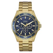 men s guess watches h samuel guess men s navy dial yellow gold plated bracelet watch product number 3596036
