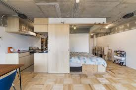 One Room Living Space Small Japanese Apartment Splits Up Space With Partitions