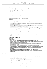 Summer Internship Resume Examples Summer College Intern Resume Samples Velvet Jobs