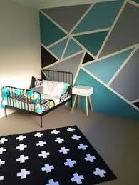 bedroom paint design ideas. Plain Paint Big Boys Bedroom Withal The IKEA Minnen Toddler Bed Frame Adairs Linen And  A Funky Geometric Wall Paint Job And Bedroom Paint Design Ideas N