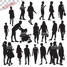 People Walking Outdoor Silhouettes Set Vector Illustration Gm