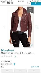 Leather Jacket Size Chart Oxblood Mosman Biker Jacket