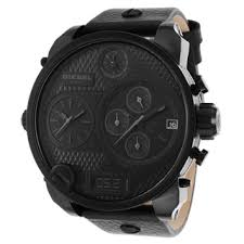 leather date display diesel men s watches overstock com shopping diesel men s dz7193 black leather quartz watch black dial
