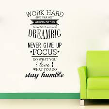 Life Quote Wall Stickers 100 Work Hard Motivation Wall Decals Never Give Up Dream Big 58