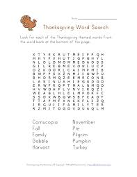 Thanksgiving Word Search All Kids Network