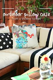 no sew outdoor pillow case from a shower curtain