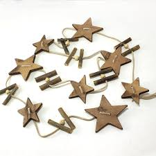 58 leather string garland with star shaped natural wooden cutouts pack