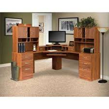 Image Ikea Brown Corner Lwork Center And 2hutches With Monitor Platform Keyboard Shelf Home Depot Classic Corner Desks Home Office Furniture The Home Depot
