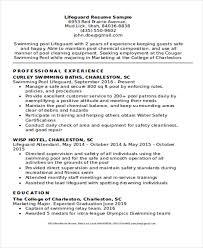 Ideas Of Resume For Lifeguard Charming 8 Lifeguard Resume Free