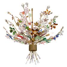 a midcentury murano glass bouquet of flowers chandelier with tole leaves for