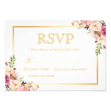 pink wedding invitations & announcements zazzle Zazzle Bling Wedding Invitations elegant chic gold pink floral wedding rsvp reply card Elegant Wedding Invitations