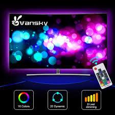 Vansky Bias Lighting Manual Led Strip Lights Vansky Bias Lighting For 40 60 Inch Hdtv 6 6ft Rgb Usb Powered Led Light Strip With Rf Remote Tv Backlight Kit For Flat Screen Tv Pc