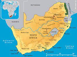 Güney Afrika ve Güney Afrika)Güney Afrika Cumhuriyeti haritası - Güney  Afrika Cumhuriyeti harita