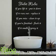image is loading toilet rules wall sticker quote bathroom home wall  on toilet wall art stickers with toilet rules wall sticker quote bathroom home wall art decal x131