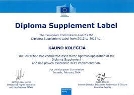 diploma its supplement and label kauno kolegija kauno