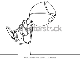 Glass Template Continuous Line Drawing Hand Holding Glass Stock Vector