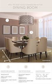 correct height measurements to size a dining room chandelier infographic