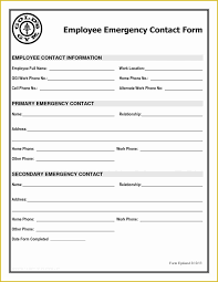 Free Emergency Contact Form Template For Employees Of