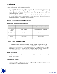 Quality Management Plan Quality Control Plan Template My Best Templates 10