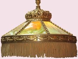 neo renaissance bronze and slag glass ceiling light 3
