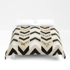 black white gold glitter herringbone chevron on cream duvet cover