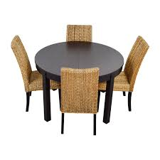 macys ikea round black dining table set with four chairs brown